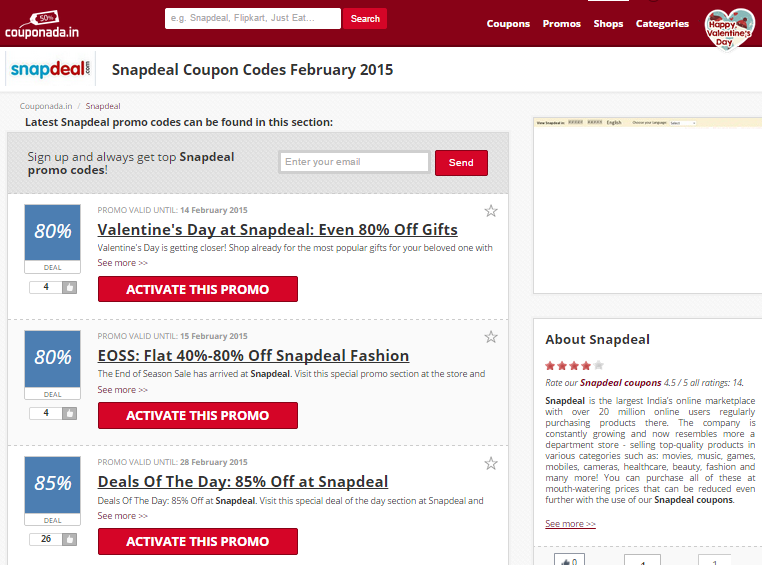 SnapDeal Coupons For Automobiles/Car Accessories